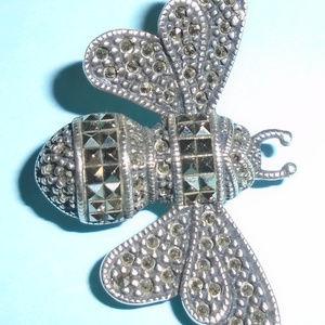 Judith Jack Sterling Silver & Marcasite Bee Brooch